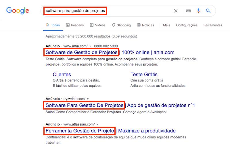 Exemplo de pesquisa no Google com a palavra-chave exata nos anúncios