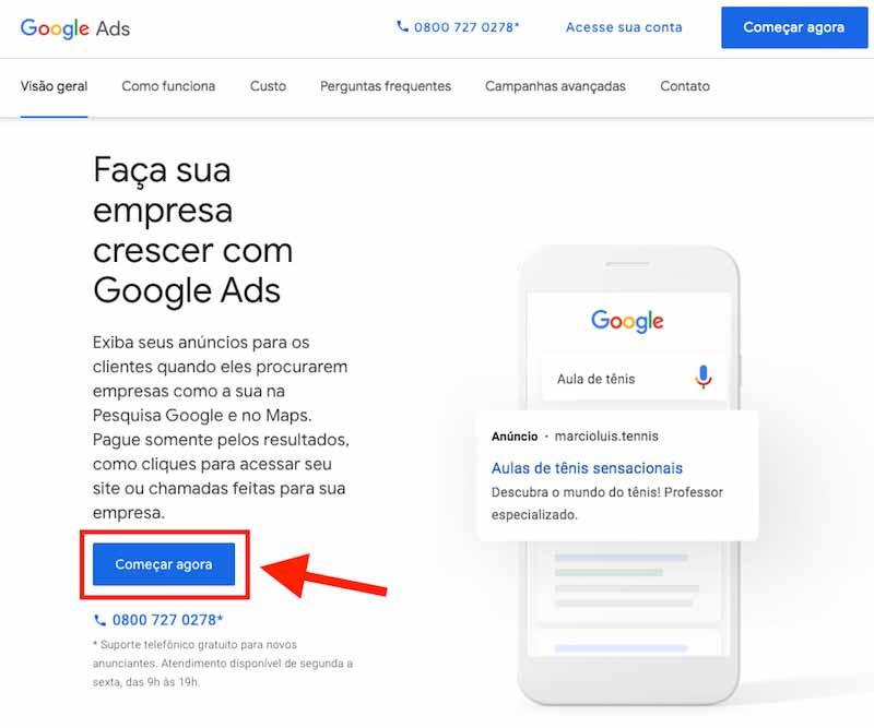 Como criar a sua conta google ads para começar a anunciar no google