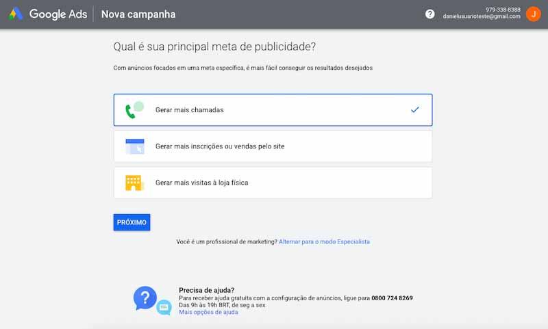 Tela de criação da primeira campanha no Google Ads