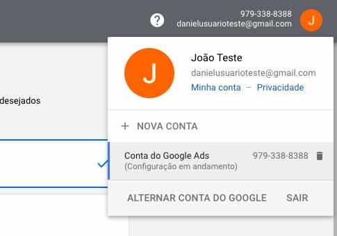 Número do Id de cliente do Google Ads no canto direito superior