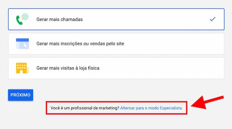 """Link """"Alternar para o modo Especialista"""" do Google Ads"""