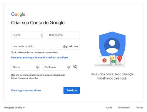 Formulário de criação de conta Google Gmail