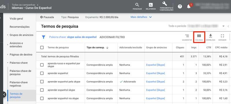 Google ads: como adicionar colunas ao relatório de termos de pesquisa