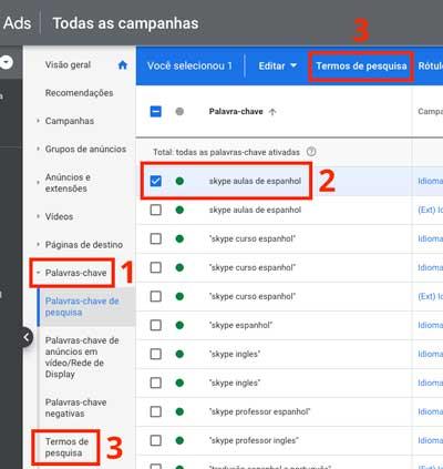 Google ads: como acessar o relatório de termos de pesquisa no nível de palavra-chave