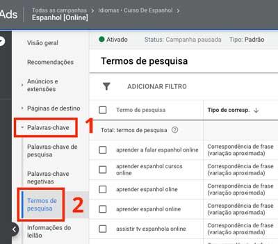 Google ads: como acessar o relatório de termos de pesquisa no nível de grupo de anúncios