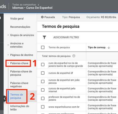 Google ads: como acessar o relatório de termos de pesquisa no nível de campanha