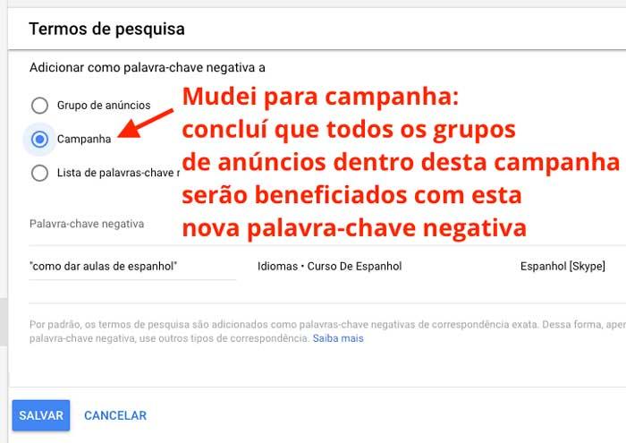 Google ads: adicionar termos de pesquisa como palavras-chave negativas no nível de campanha