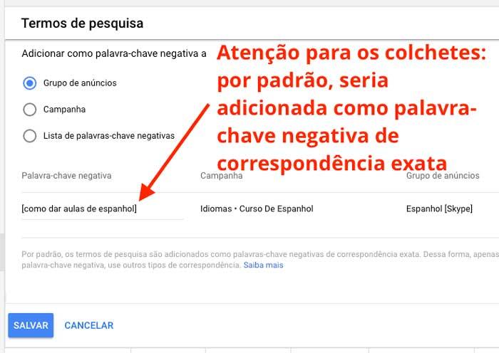 Google ads: adicionar termo de pesquisa como palavra-chave negativa