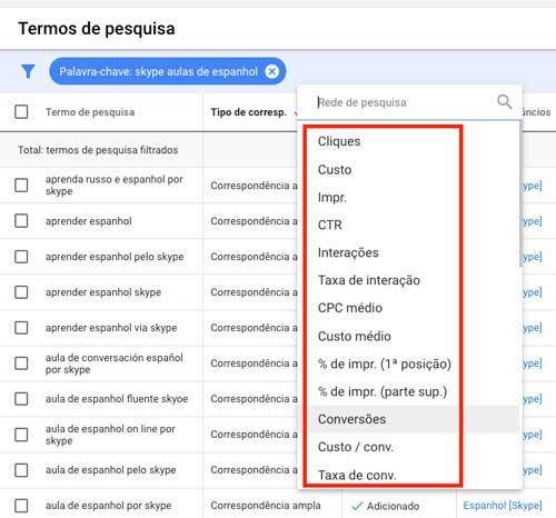Google Ads: opções de filtros do relatório de termos de pesquisa