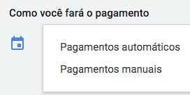 Google ads: opções de pagamento