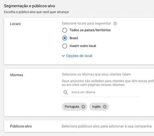 Google ads: segmentação de local e de idioma da campanha