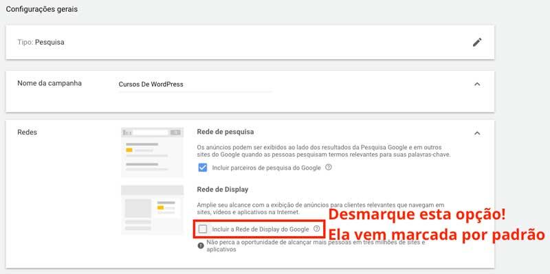 Google ads: dar nome à nova campanha
