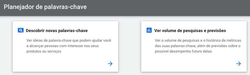 Google ads: opções do planejador de palavras-chave para a nova campanha