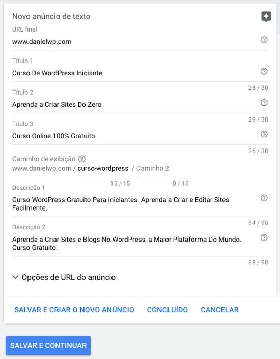 Google ads: criação de anúncio de texto de uma nova campanha