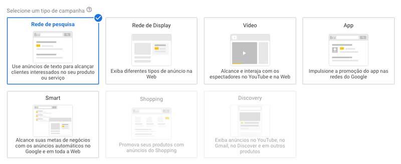 Google ads: escolher o tipo de campanha