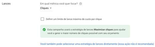 Google ads: escolher cliques como métrica de foco e limite de lance máximo de custo por clique