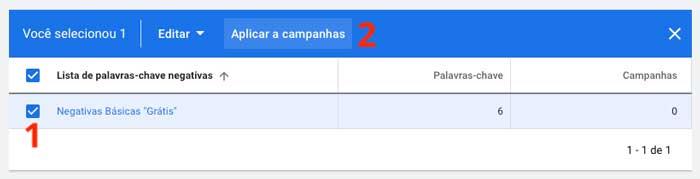 Como aplicar listas de palavras-chave negativas a campanhas