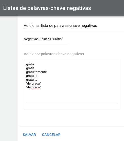 Exemplo de lista de palavras-chave negativas