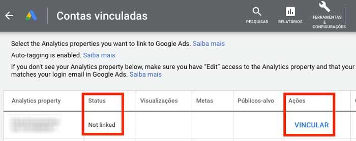 Vincular contas Google Ads e Google Analytics
