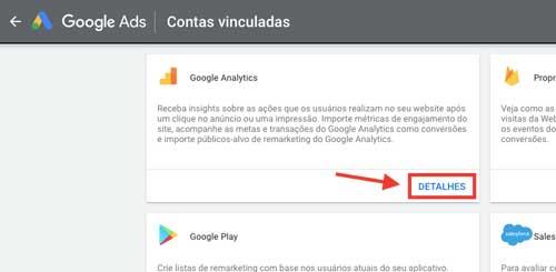 Google ads: contas vinculadas, Google Analytics