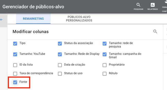 Google Ads: adicionar a coluna Fonte no Gerenciador de públicos-alvo