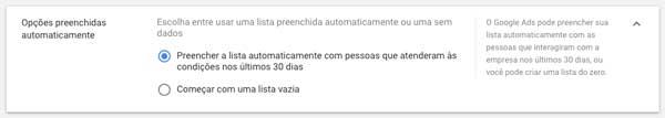Google ads: opções de preenchimento da lista de remarketing (público-alvo)