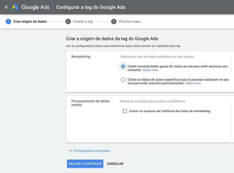 Tag do Google Ads: configurar origem de dados