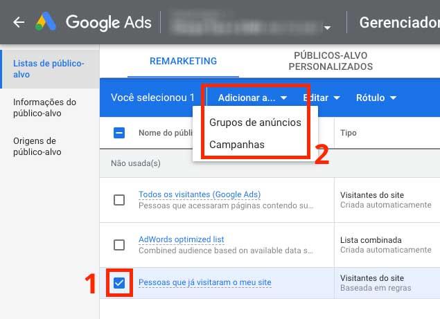Google ads: como vincular listas de remarketing a grupos de anúncios ou a campanhas