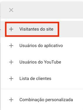 Novo público de visitantes do site no Google Ads
