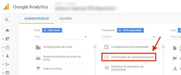 Google Analytics, informações de acompanhamento