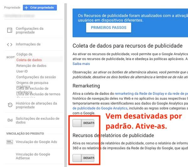 Remarketing desativado no Google Analytics
