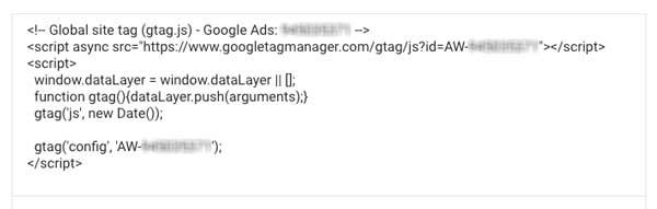 Tag do Google Ads com código