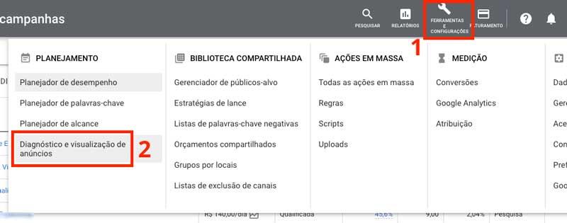 Acessar a ferramenta de diagnóstico e visualização de anúncios no menu do Google Ads
