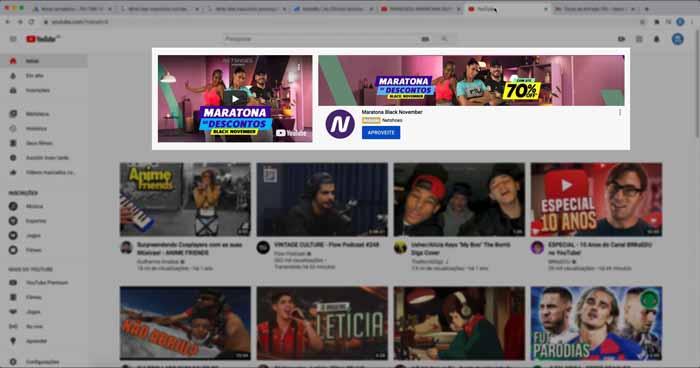 Anúncio de campanha de vídeo do Google Ads na Home do YouTube