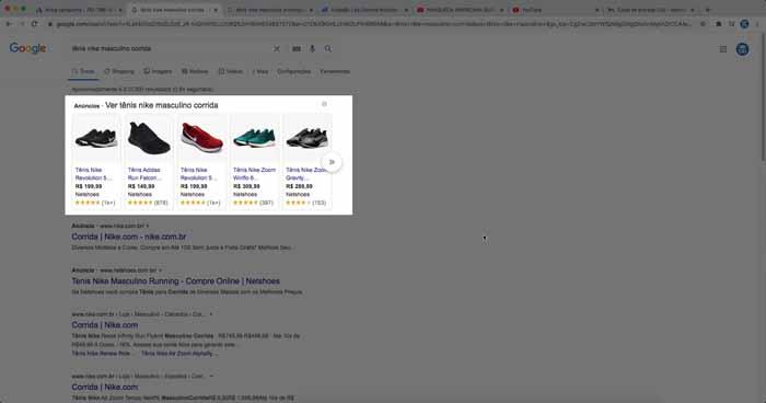 Anúncio de campanha do Google Shopping