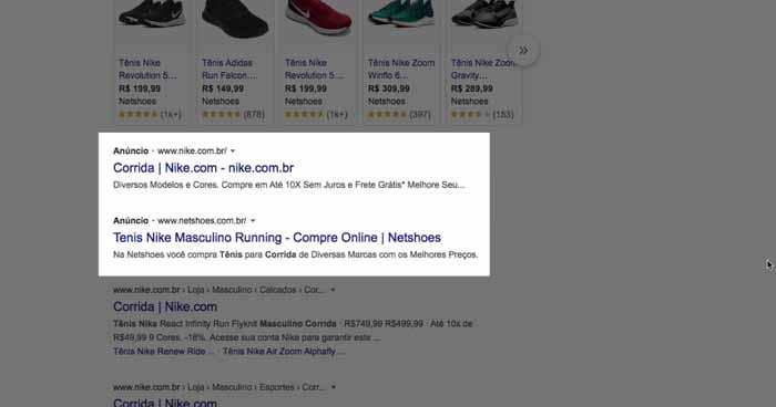 Anúncio de campanha da rede de pesquisa do Google Ads