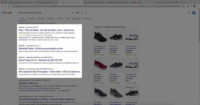 Anúncio de campanha da rede de pesquisa do Google Ads na página de resultados