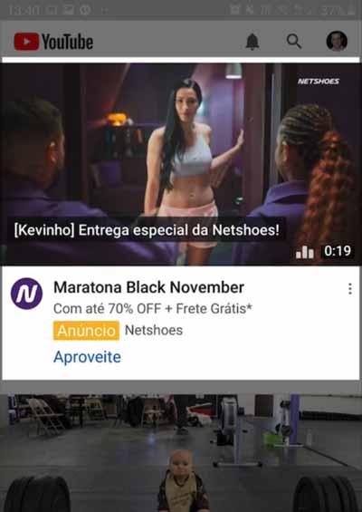 Anúncio de campanha Discovery no YouTube