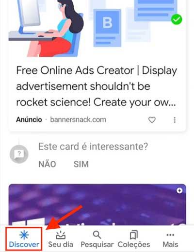 Anúncio de campanha Discovery no Discover do aplicativo da Google
