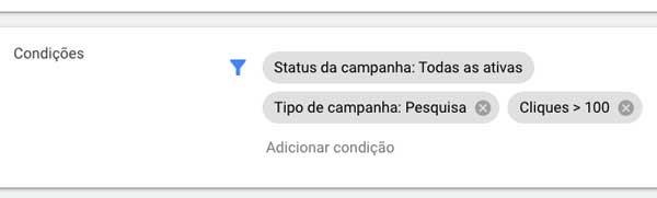 Condições simultâneas em regras automatizadas no Google Ads
