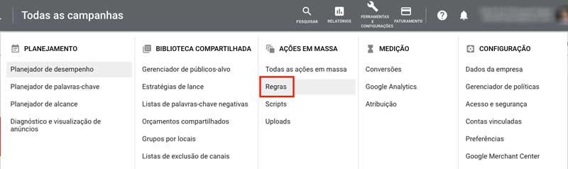 Regras automatizadas no menu do Google Ads