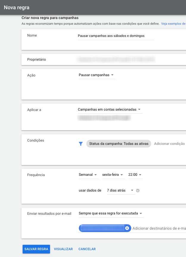 Configurações da nova regra automatizada no Google Ads