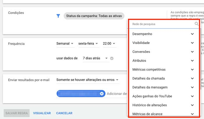 Opções de condições em regras automatizadas no Google Ads