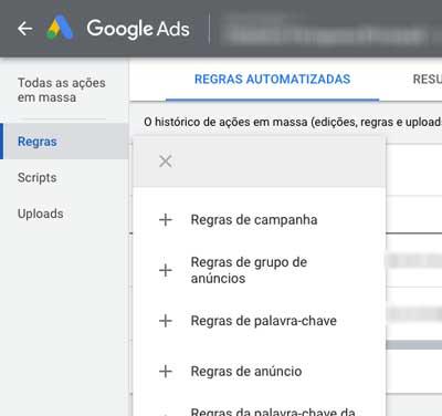 Escolher o tipo da nova regra automatizada no Google Ads