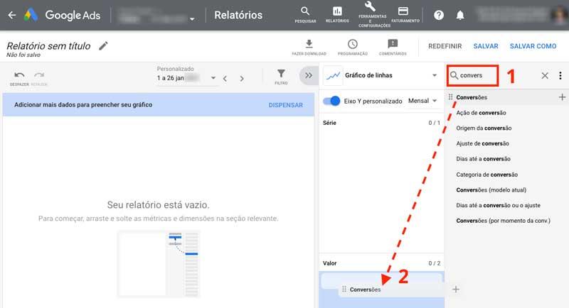 Editor de Relatórios do Google Ads com campo de busca para encontrar dimensões e métricas