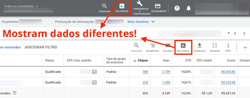 """Opções """"Relatórios"""" no Google Ads mostram dados diferentes"""