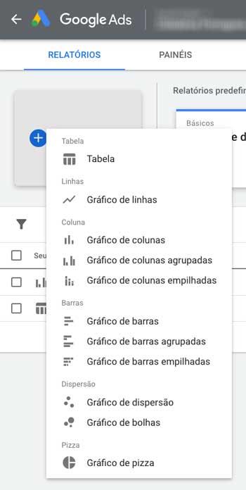 Opções de tipos de gráfico para criação de relatórios personalizados no Google Ads
