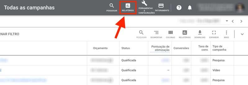 Como acessar os relatórios no menu superior do Google Ads