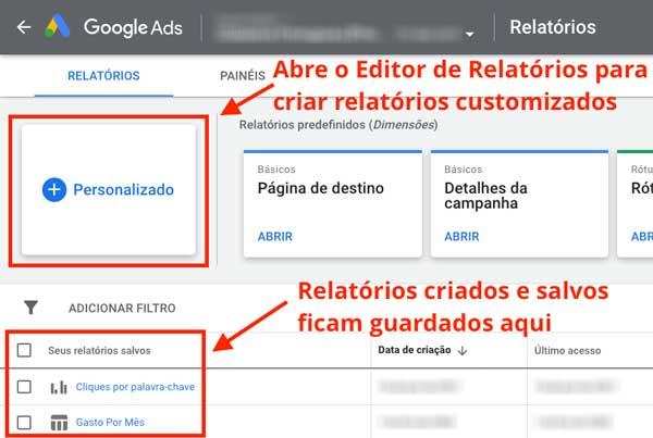 Botão para criação de relatórios customizados no Google Ads