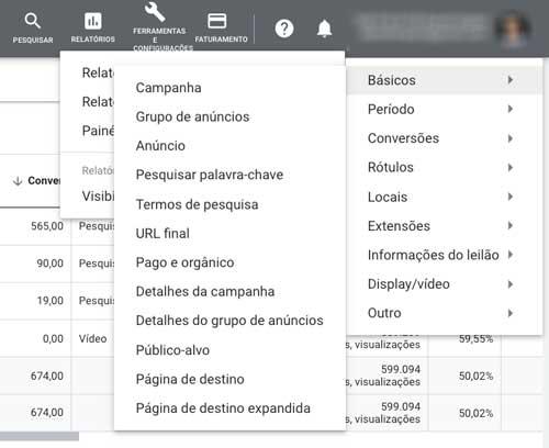 Opções de relatórios predefinidos (dimensões) do Google Ads